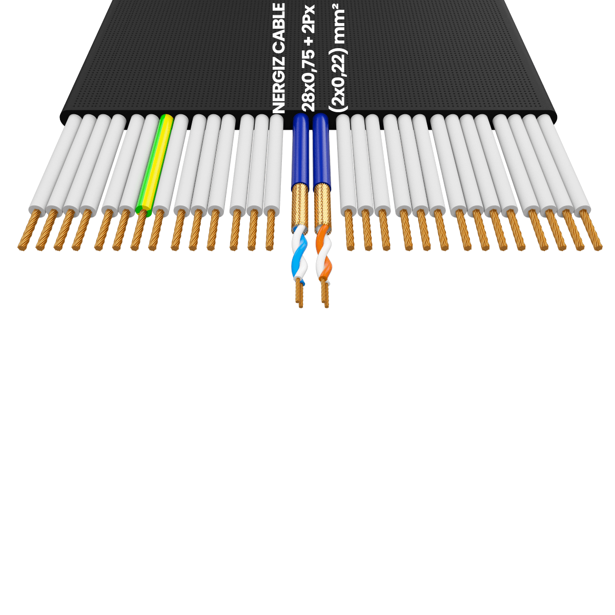 28x0.75 +2Px(2x0.22) mm² H05VVH6-F Foiled Elevator Cable